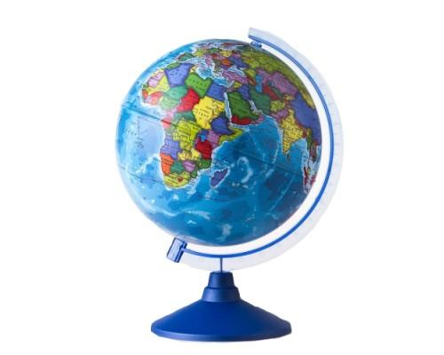 Глобус политический d=210мм рельефный Классик черная пл.подставка
