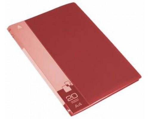 Папка 20 файлов Бюрократ А4 красная 0,6мм PV/BPV