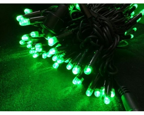 Гирлянда В 100 led шнурок зеленый черн.пр каучук 10м уличн 463