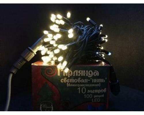 Гирлянда В 100 led шнурок тепло-белый flash-w черный.пр каучук 10м соед. IP65 435