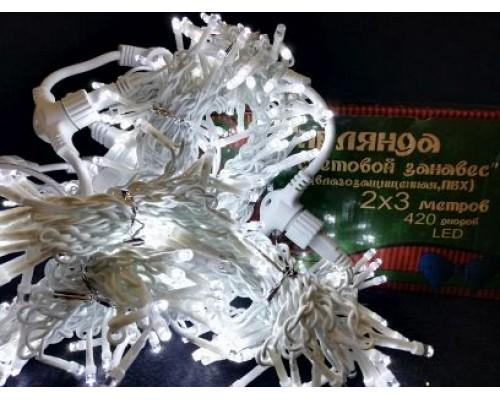 Гирлянда В 420 led занавес белый flash-w белый.пр пвх 2*3м соед. IP54 472