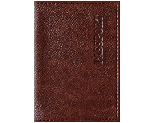 Обложка для паспорта кожзам Бизнес коричневый Спейс