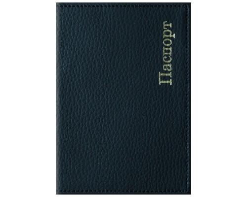 Обложка для паспорта кожзам Комфорт тис.золотом черный Спейс
