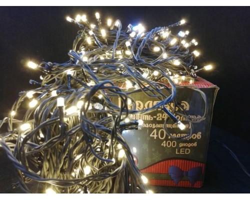 Гирлянда В 400 led шнурок тепло-белый 24v черн.пр ПВХ 40м 491