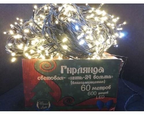 Гирлянда В 600 led шнурок тепло-белый flash-w 24v черн.пр ПВХ 60м соед. IP54 489