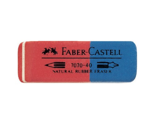 Ластик Faber Castell 7070 каучук двусторонний 50*18*8мм оранжево-синий