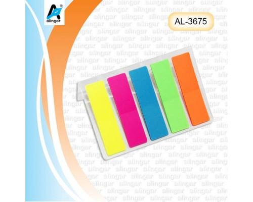 Закладки Alingar 12мм*45мм пластиковые 5цв 20л