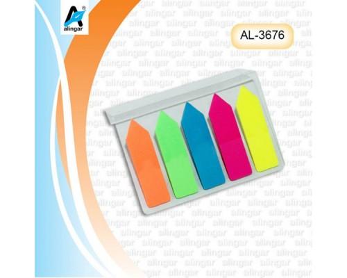 Закладки Alingar 12мм*45мм пластик 5цв 20л Стрелка
