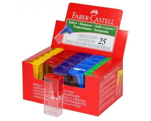 Точилка Faber Castell 1отв с контейнером 4цв