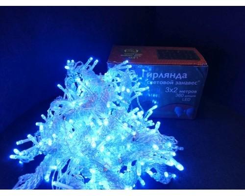 Гирлянда В 360 led занавес синий внутри помещения прозр провод 3*2 411