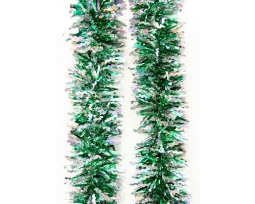 Мишура Феникс 9см 2м Зеленая с серебром 75740