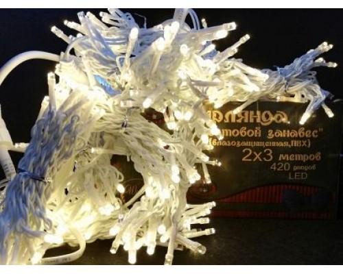 Гирлянда В 420 led занавес тепло-белый flash-w белый.пр пвх 2*3м соед. IP54 471
