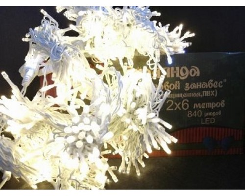 Гирлянда В 840 led занавес тепло-белый белый.пр пвх 2*6м 478