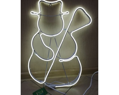 Гирлянда В Пано Снеговик с метлой гибкий неон белый 55см IP65 5012-55W 419