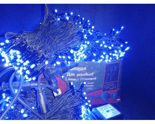 Гирлянда В Комплект для деревьев 665 led*5*20м синий черн каучук.пр 458