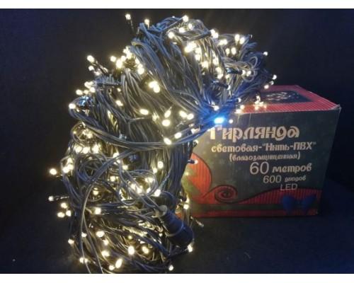 Гирлянда В 600 led шнурок т-белый черн.пр 60м ПВХ 454