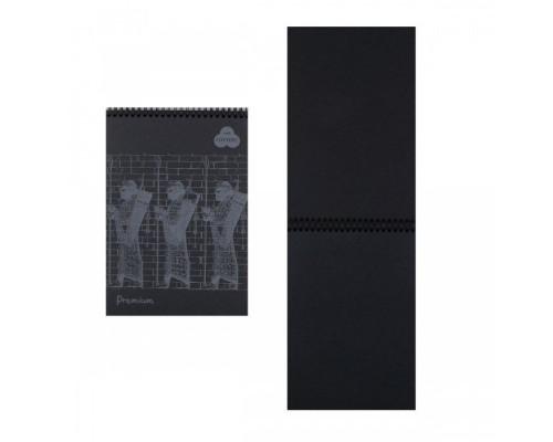 Блокнот для пастели А5 30л Premium Ground 160г/м2 40% хлопок тиснение Холст черный спираль БРr/GN