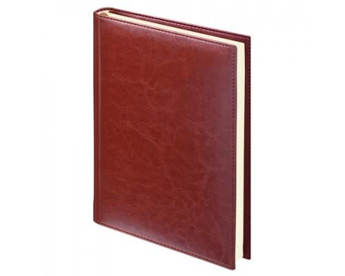 Ежедневник Brauberg недатир А5 148*218мм Imprerial гладкая кожа коричневый кремовый блок 123414