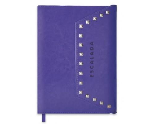 Ежедневник Феникс А5+ 192стр недатир Сариф фиолетовый +серебристые клепки органайзер белый офсет 47407