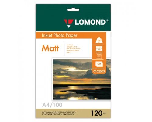 Фотобумага Lomond IJ A4 матовая 120г/м2 100л