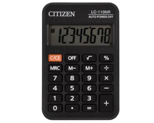 Калькулятор Citizen 8-разряд.карманный 8 разр., питание от батарейки, 58*88*11мм, черный