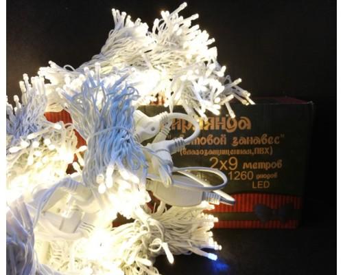 Гирлянда В 840 led занавес тепло-белый flash-w белый.пр пвх 2*6м соед. IP54 520