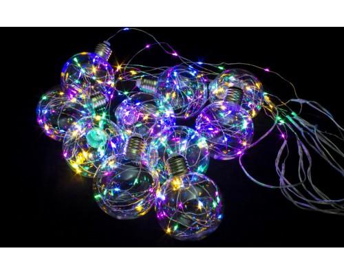 Гирлянда В 10 led бахрома мульти Шарики 8см со cветлячками пр.провод 2,5м IP20 514