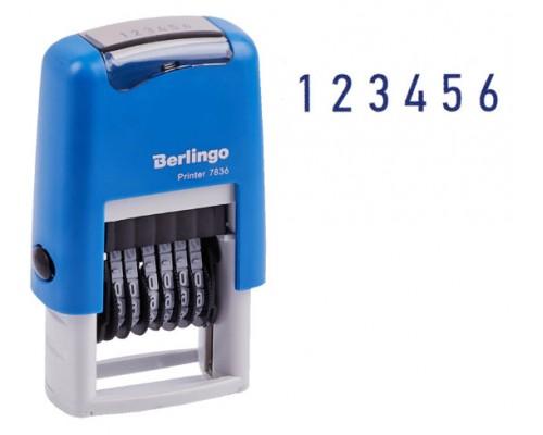 Нумератор Berlingo Printer 7836 3мм мини 6 разряд