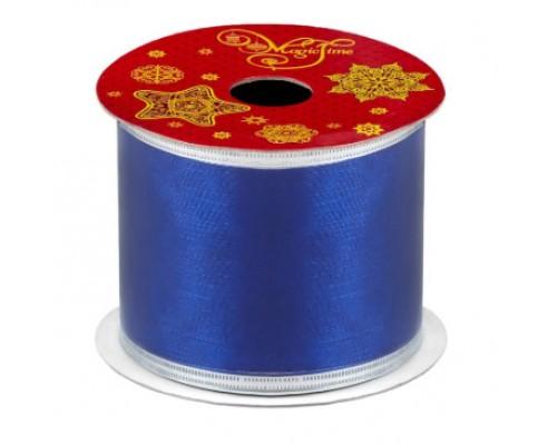 Лента декорат новогод полиэстер 270*6,3см Белая/синяя/оранжевая катушка Феникс
