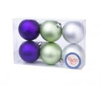 Шар 6шт 6см фиолетовый зеленый серебро Феникс 78780