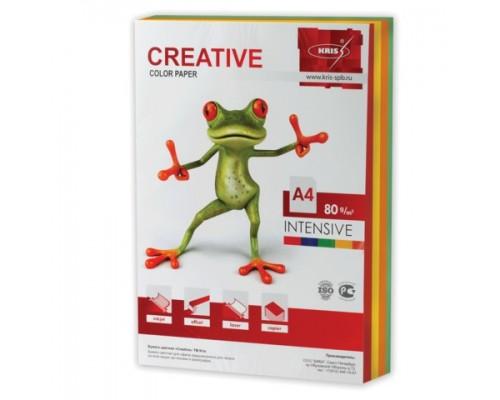 Бумага офисная Creative color 80г/м А4 250л 5цв*50л интенсив БИpr-250r