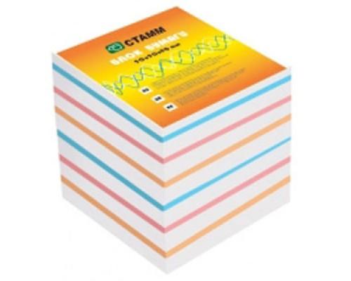 Блок бумаги Стамм 9*9*9см цветной Эконом