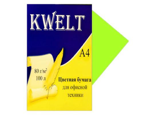 Бумага офисная Kwelt неон А4 100л 80г/м лайм