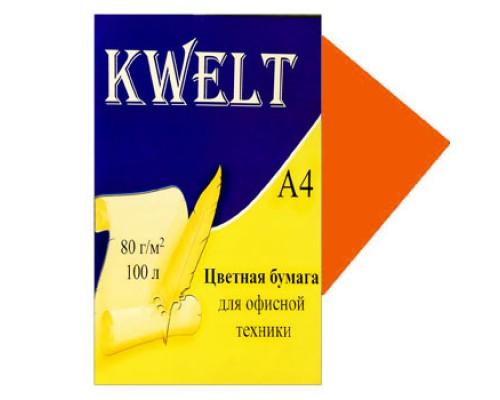 Бумага офисная Kwelt неон А4 100л 80г/м оранжевый