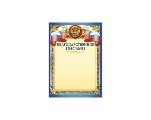 Благодарственное письмо Квадра простое 316 РФ синий
