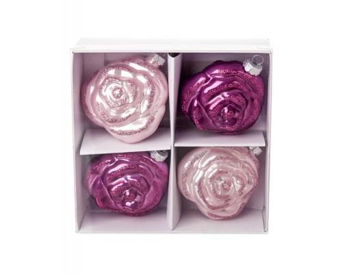 Шар стекло 4шт Розы 7см розовый/тем-розовый Е17805-2