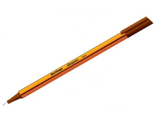Ручка капиллярная Berlingo Rapido 0,4мм трехгр коричневая