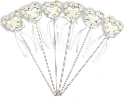 Сердечки на палочке с декором белое Миленд Т-3931