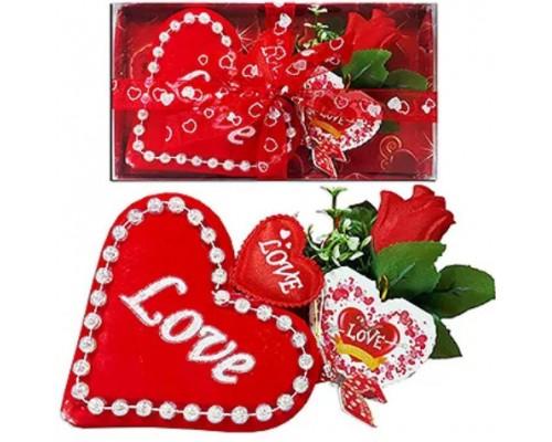 Сувенир музыкальный Love 2 сердца с валентинкой под/уп К-8915