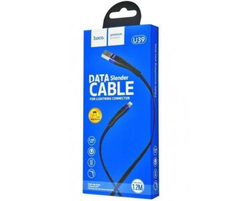 Кабель USB 8-pin Hoco U39 2,4А 1.2м черно-синий