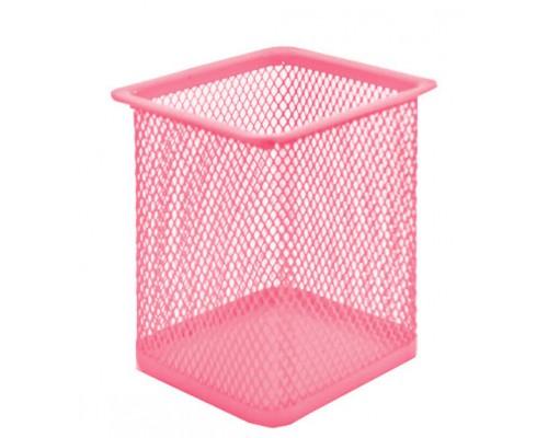 Стакан Kwelt металл сетчатый квадратный розовый К-1897