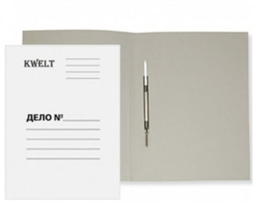 Скоросшиватель карт 280г/м2 KWELT А4 мелованный, белый