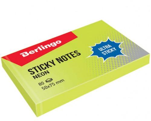 Бумага с клеевым краем Berlingo 50*75 80л Ultra Sticky неон зеленый