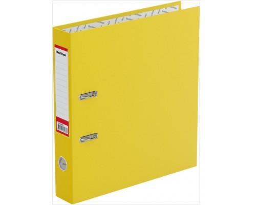 Папка-регистратор 50мм Berlingo Standard б/в желтый корешок с карманом и мет.кантом