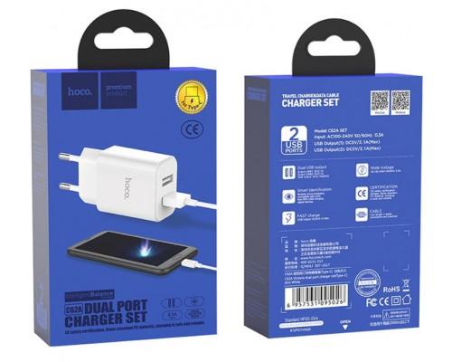 Блок сетевой Hoco С62А 2USB 2,4А+кабель Type-C белый