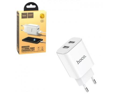Блок сетевой Hoco С62А 2USB 2,4А+кабель Micro V8 белый