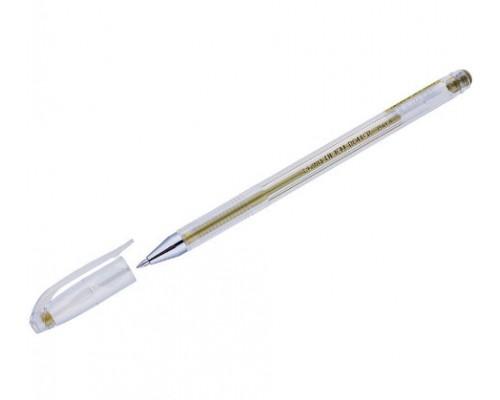 Ручка гелевая Crown 0,7мм металлик золото