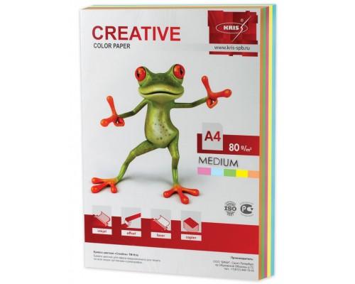Бумага офисная Creative color 80г/м А4 250л 5цв*50л медиум БОpr-250r