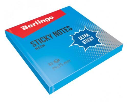Бумага с клеевым краем Berlingo 75*75 100л Ultra Sticky неон синий