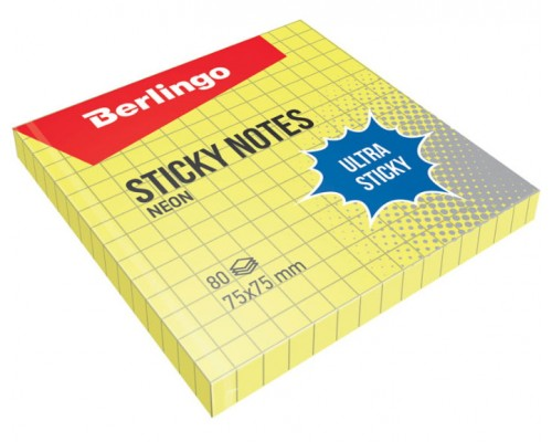 Бумага с клеевым краем Berlingo 75*75 80л Ultra Sticky в клетку неон желтый